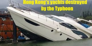 Boats in Hong Kong Destroyed by the Typhoon Mangkhut on Sept 16 2018
